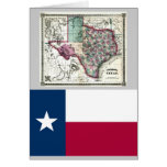 Texas Map and State Flag Greeting Card