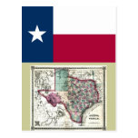 Texas Map and State Flag Postcard