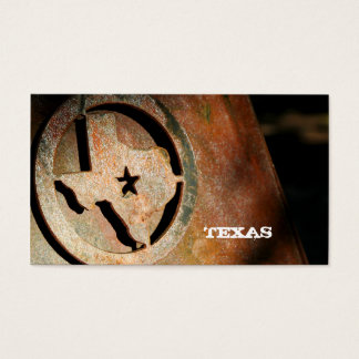 Texas Map Business Card Star Metal