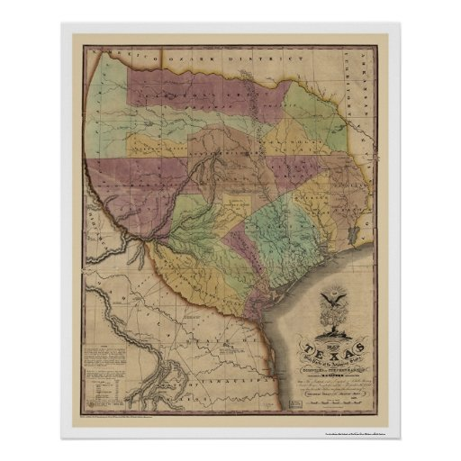 Texas Map By Stephen Austin 1837 Poster