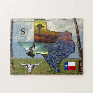 Texas Map Jigsaw Puzzles Zazzle - Texas map puzzle