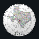 "Texas map dartboard with darts<br><div class=""desc"">Colorful line art design map of Texas state.</div>"