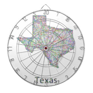 Texas map dartboard with darts