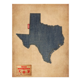 Texas Map Denim Jeans Style Flyer
