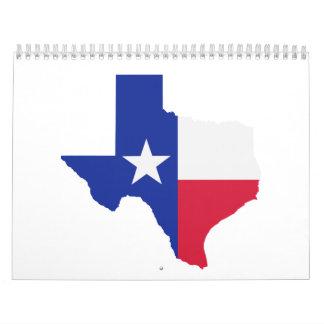 Texas map flag calendar