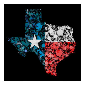 Texas Map Flag Proud Texan American Grunge Poster
