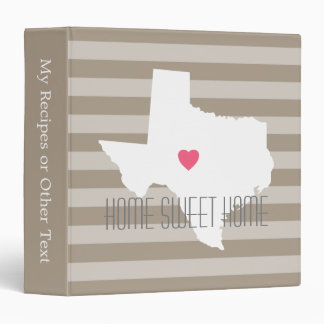 Texas Map Home State Love with Custom Heart 3 Ring Binder