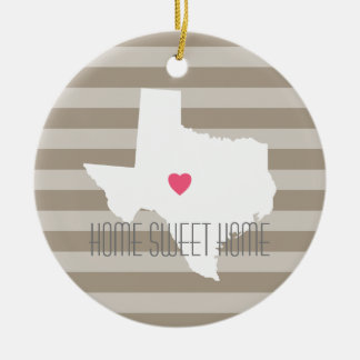 Texas Map Home State Love with Custom Heart Ceramic Ornament