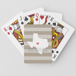 Texas Map Home State Love with Custom Heart Playing Cards