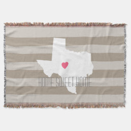 Texas Map Home State Love with Custom Heart Throw Blanket