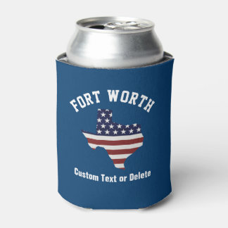 Texas Map   Patriotic USA Flag   Your City or Text Can Cooler