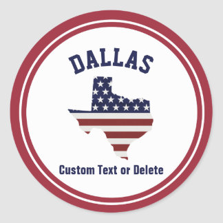 Texas Map | Patriotic USA Flag | Your City or Text Classic Round Sticker