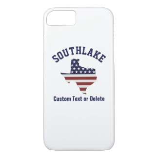 Texas Map | Patriotic USA Flag | Your City or Text iPhone 7 Case