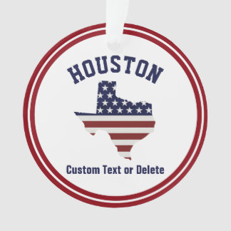 Texas Map | Patriotic USA Flag | Your City or Text Ornament