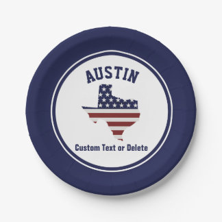 Texas Map | Patriotic USA Flag | Your City or Text Paper Plate