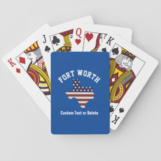 Texas Map   Patriotic USA Flag   Your City or Text Playing Cards