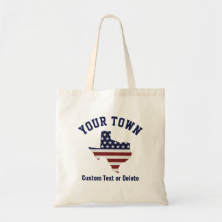 Texas Map | Patriotic USA Flag | Your City or Text Tote Bag