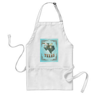 Texas Map With Lovely Birds Adult Apron