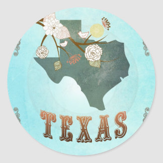 Texas Map With Lovely Birds Classic Round Sticker