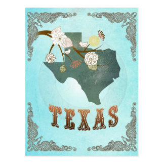 Texas Map With Lovely Birds Postcard