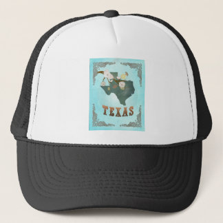Texas Map With Lovely Birds Trucker Hat