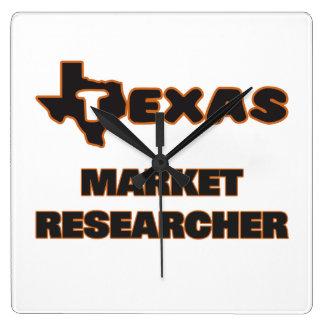 Texas Market Researcher Square Wallclocks