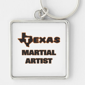 Texas Martial Artist Silver-Colored Square Keychain