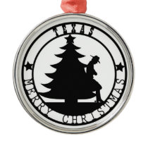 Texas Merry Christmas Metal Ornament