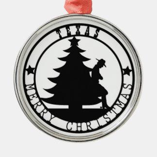 Texas Merry Christmas Round Metal Christmas Ornament