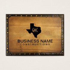 Texas Monogram Logo Vintage Leather & Wood Business Card at Zazzle