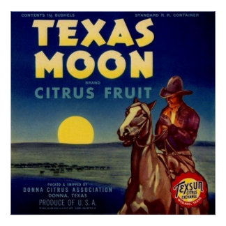 Texas Moon Citrus Fruit Crate Label Poster