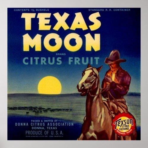 Texas Moon Citrus Fruit Crate Label