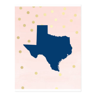 Texas Navy Blue Pink Gold Post Card