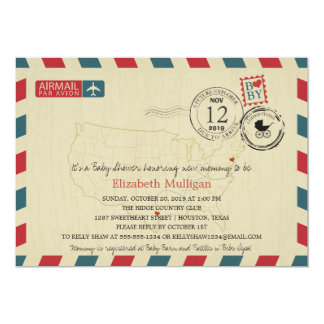 Texas / New Jersey Airmail | Baby Shower Card