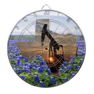 Texas Oil Pump Jack At Sunset On Bluebonnets Dartboard