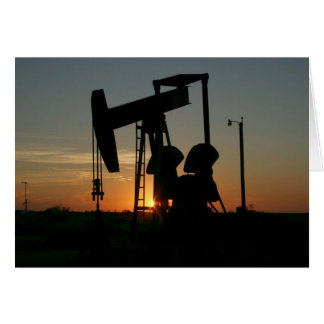 Texas Oil Pump Silhouette at Sunset Blank Card