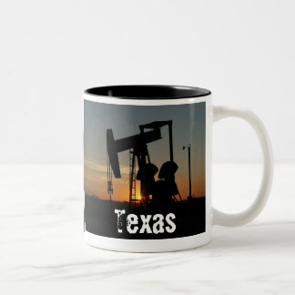 Texas Oil Pump Silhouette at Sunset Mug