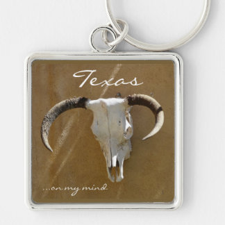 Texas on my mind/Longhorn Skull Silver-Colored Square Keychain