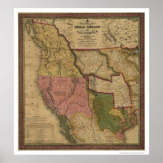 Texas Oregon California Map 1846 Poster Zazzle Com