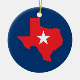 Texas Double-Sided Ceramic Round Christmas Ornament