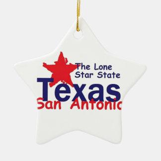 TEXAS Double-Sided STAR CERAMIC CHRISTMAS ORNAMENT