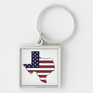 Texas outline all American flag square keychain