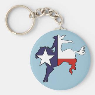 Texas outline bucking horse cowboy flag basic round button keychain