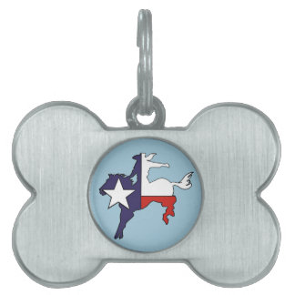 Texas outline bucking horse cowboy flag pet ID tag