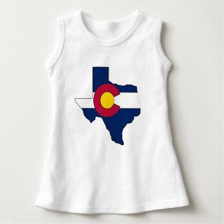 Texas outline Colorado flag baby sleeveless dress