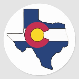Texas outline Colorado flag round stickers