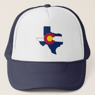 Texas outline Colorado flag trucker hat