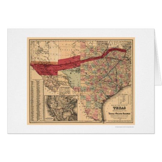 Texas & Pacific Railroad Map 1873 Card