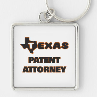 Texas Patent Attorney Silver-Colored Square Keychain
