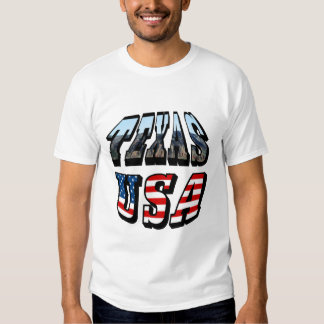 Texas Picture and Flag Text Tee Shirt